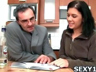 Cute Daddy Kitchen Old and Young Student Teacher Teen