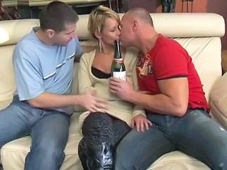 Drunk Kissing MILF Old and Young Skinny Threesome