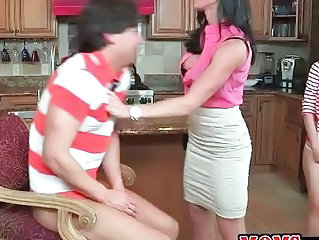 Family Kitchen MILF Mom Old and Young Threesome