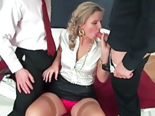 Blowjob Clothed MILF Stockings Threesome