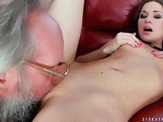 Cute Daddy Daughter Licking Old and Young Teen