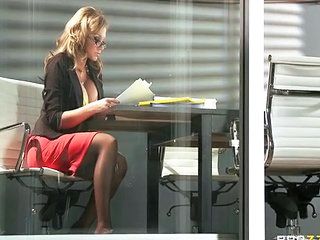 Big Tits Glasses MILF Office Secretary