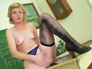 Glasses Masturbating Mature MILF School Small Tits Stockings Teacher