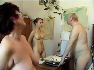 Mature Nudist Office Russian Threesome