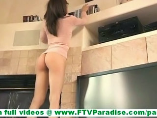 Risi beautiful amateur brunette with ponytail and wearing..