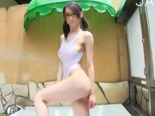 Asian Bikini Glasses Japanese Outdoor Pigtail Teen