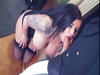 Big Tits Blowjob British MILF Natural Stockings Tattoo
