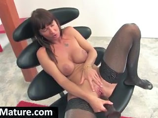 Masturbating MILF Stockings Toy