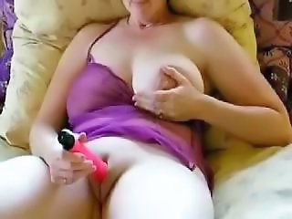 Amateur Homemade Lingerie Masturbating Mature SaggyTits Shaved Toy