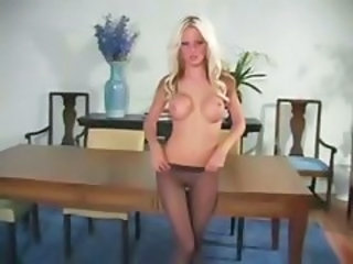 Babe Blonde Pantyhose Silicone Tits Solo