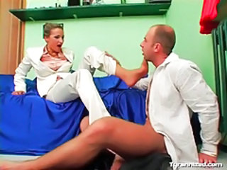 Footjob from beauty in white satin pants tubes