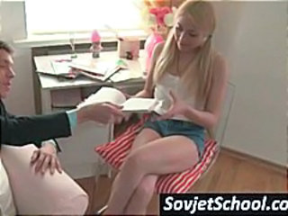 Young blonde schoolgirl, in pigtails, gets her pussy licked by study buddy