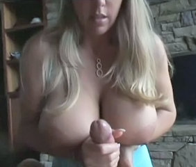 Hot chick with large tits handjob