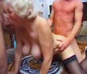 Blowjob Doggystyle Granny Stockings Threesome