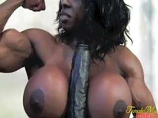 Big Tits Ebony Mature Muscled Silicone Tits