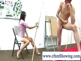 Cfnm girls drawing naked wanking guy and getting horny