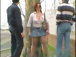 Amateur Chubby MILF Older Outdoor Public Skirt Threesome