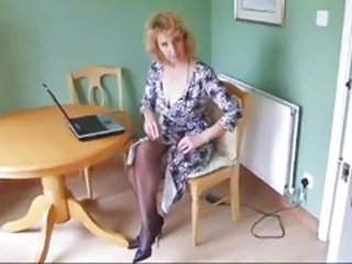 Kitchen Mature Stockings Stripper