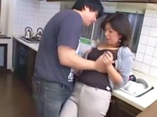 Asian Chubby Kitchen Mom Old and Young