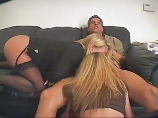 Amazing Anal Blowjob Stockings Teen Threesome