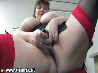 Horny fat mature lady fucks part1