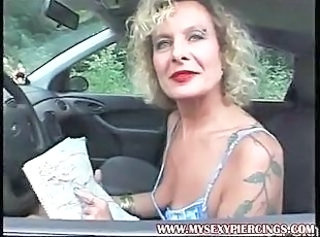 Amateur Car Mature MILF Tattoo