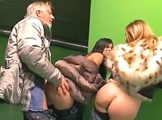 Ass Clothed Doggystyle Public Teen Threesome