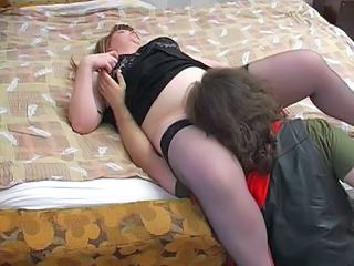 BBW Licking Mature Mom Old and Young Redhead Stockings