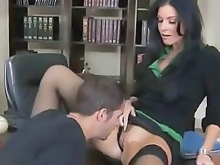 Licking MILF Office Stockings Teacher