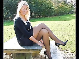Legs MILF Outdoor Skirt Stockings