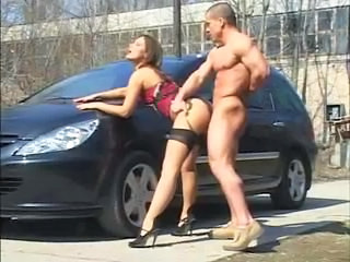 Hot Brunette Fucked In The Parking Lot