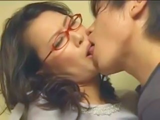 Asian Glasses Japanese Kissing Mature Mom Old and Young