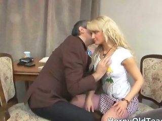 Blonde Daddy Old and Young Teacher Teen