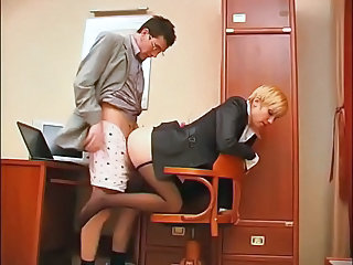 Clothed Doggystyle Office Pantyhose Secretary
