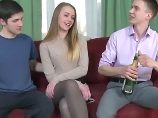 Threesome With Amazing Cute Blonde