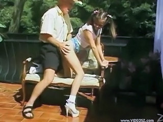 Clothed Daddy Doggystyle Old and Young Outdoor Pigtail Teen
