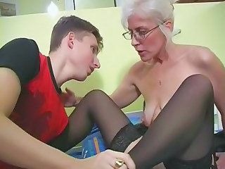 Glasses Mature Mom Old and Young SaggyTits Stockings