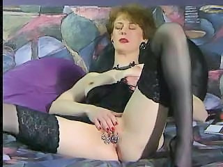 Masturbating Mature Piercing Stockings Vintage