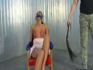 Bondage bitch gets whipped fast