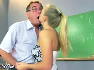 Kissing Old and Young School Teacher Teen
