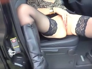 Car Masturbating Stockings