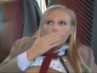 Euro Schoolgirl creampied in Bus ctoan