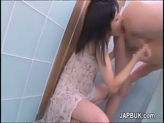 Asian Bathroom Handjob Licking Teen
