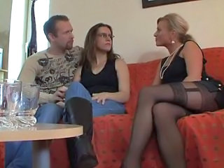 European German MILF Stockings Threesome