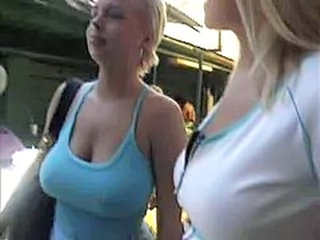 Babe Big Tits Natural Outdoor Public