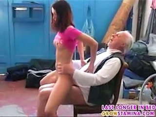 Daddy Daughter Old and Young Riding Skinny Teen