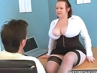 Big Tits Chubby MILF Natural Office Stockings