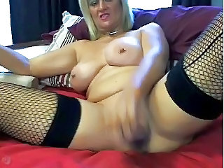 Big Tits Masturbating MILF Piercing Stockings