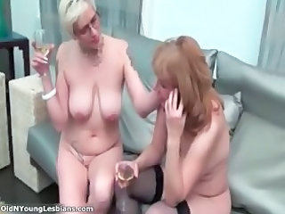 two naughty cougar lesbians are drinking part2