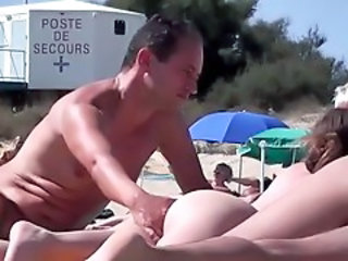 French nudist beach Cap d'Agde pussies fingering + blowjob
